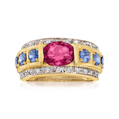 C. 1990 Vintage 1.75 Carat Pink Tourmaline, 1.20 ct. t.w. Sapphire and .25 ct. t.w. Diamond Ring in 14kt Yellow Gold