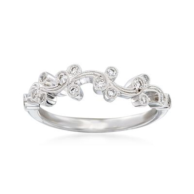 "Simon G. ""Vintage Explorer"" .17 ct. t.w. Diamond Floral Ring in 18kt White Gold"