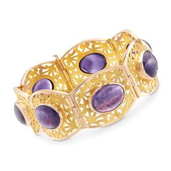 C. 1990 Vintage 58.80 ct. t.w. Amethyst Bracelet in 14kt Rose and 18kt Yellow Gold, , default