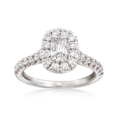 Henri Daussi 1.24 ct. t.w. Diamond Halo Engagement Ring in 18kt White Gold, , default