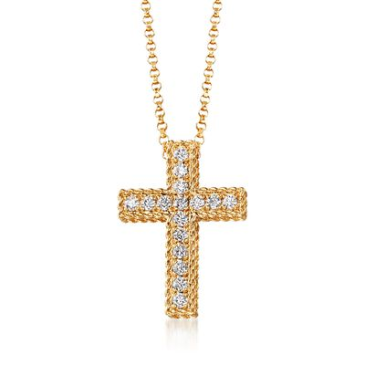 "Roberto Coin ""Princess"" .23 ct. t.w. Diamond Cross Necklace in 18kt Yellow Gold, , default"