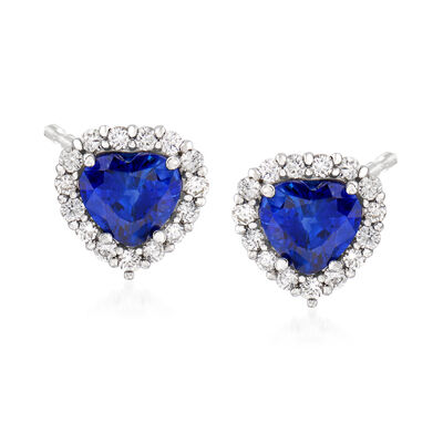 C. 1990 Vintage 3.24 ct. t.w. Sapphire and .58 ct. t.w. Diamond Heart Earrings in 18kt White Gold, , default