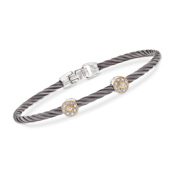 """ALOR """"Shades of Alor"""" Gray Stainless Steel Cable Station Bracelet with Diamond Accents and 18kt Yellow and White Gold"""
