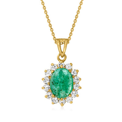 C. 1980 Vintage 2.00 Carat Emerald and .55 ct. t.w. Diamond Pendant Necklace in 14kt Yellow Gold
