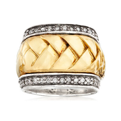 C. 1990 Vintage Scott Kay .40 ct. t.w. Diamond Braid Ring in Sterling Silver and 18kt Yellow Gold, , default