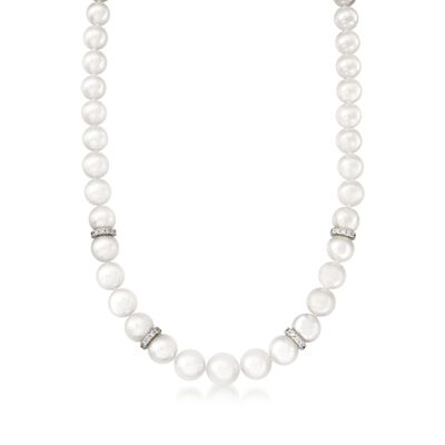 Mikimoto 7-9mm A1 Akoya Pearl Graduated Necklace with Diamonds and 18kt White Gold