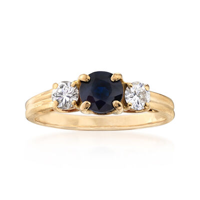 C. 1980 Vintage .75 Carat Sapphire and .40 ct. t.w. Diamond Three-Stone Ring in 14kt Yellow Gold, , default