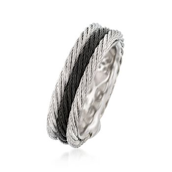 ALOR Noir Black and Gray Stainless Steel Triple Cable Band. Size 7, , default