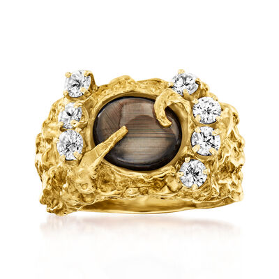 C. 1970 Vintage Brown Sapphire and 1.05 ct. t.w. Diamond Nugget Ring in 14kt Yellow Gold