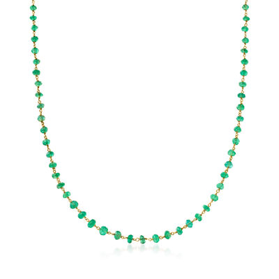 C. 1980 Vintage 9.50 ct. t.w. Emerald Bead Necklace in 14kt and 18kt Yellow Gold