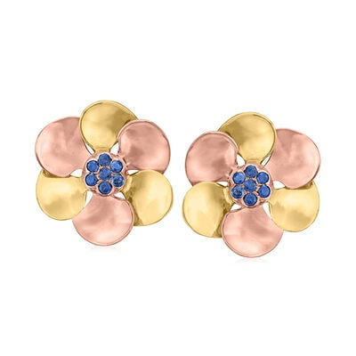 C. 1940 Vintage .70 ct. t.w. Sapphire Flower Clip-On Earrings in 14kt Two-Tone Gold