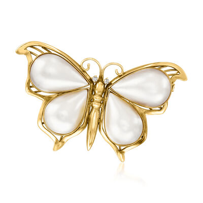 C. 1970 Vintage 25x15mm Cultured Mabe Pearl and Diamond-Accented Butterfly Pin in 18kt Yellow Gold