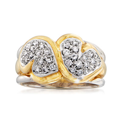 C. 1980 Vintage .50 ct. t.w. Diamond Heart Ring in 18kt Two-Tone Ring