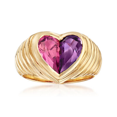 C. 1990 Vintage Bulgari 1.25 Carat Citrine and 1.10 Carat Amethyst Heart Ring in 18kt Yellow Gold, , default