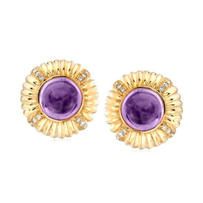 C. 1970 Vintage 14.00 ct. t.w. Amethyst and .50 ct. t.w. Diamond Clip-On Earrings in 14kt Yellow Gold, , default