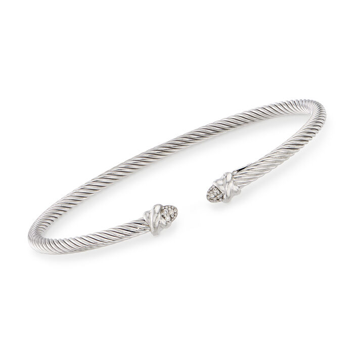 """Phillip Gavriel """"Italian Cable"""" Sterling Silver Cuff Bracelet with Diamond Accents. 7"""", , default"""