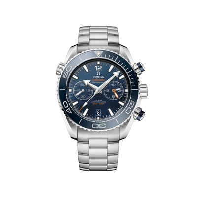 Omega Seamaster Planet Ocean Men's 45.5mm Auto Chronograph Stainless Steel Watch - Blue Dial, , default