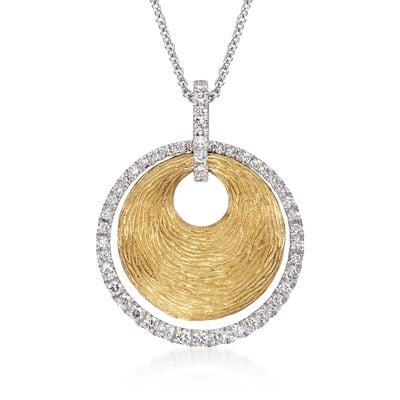 .44 ct. t.w. Disc and Diamond Pendant Necklace in 18kt Two-Tone Gold, , default