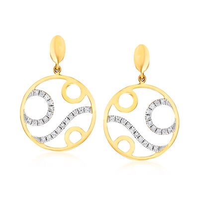 C. 1990 Vintage Piero Milano .36 ct. t.w. Diamond Circle Drop Earrings in 18kt Yellow Gold, , default