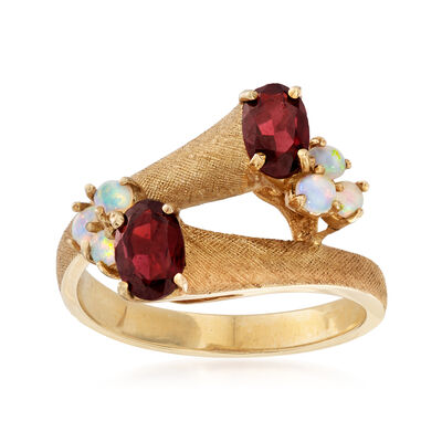 C. 1970 Vintage 2.5mm Opal and .90 ct. t.w. Garnet Bypass Ring in 14kt Yellow Gold, , default