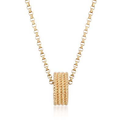 """Roberto Coin """"Symphony"""" 18kt Yellow Gold Rondelle Pendant Necklace, , default"""