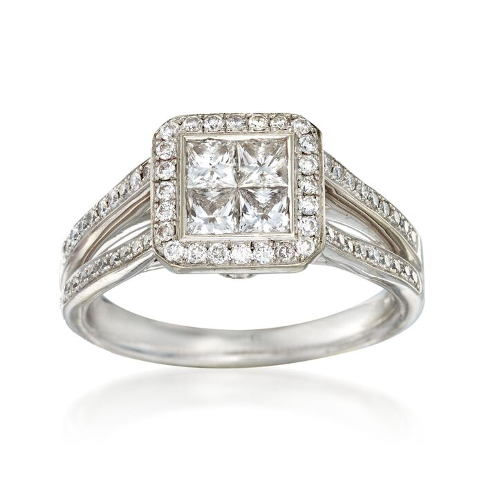 C. 2000 Vintage 1.10 ct. t.w. Princess-Cut and Round Diamond Engagement Ring in 14kt White Gold. Size 6.25