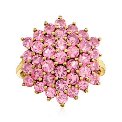 C. 1990 Vintage 2.30 ct. t.w. Pink Tourmaline Cluster Ring in 14kt Yellow Gold