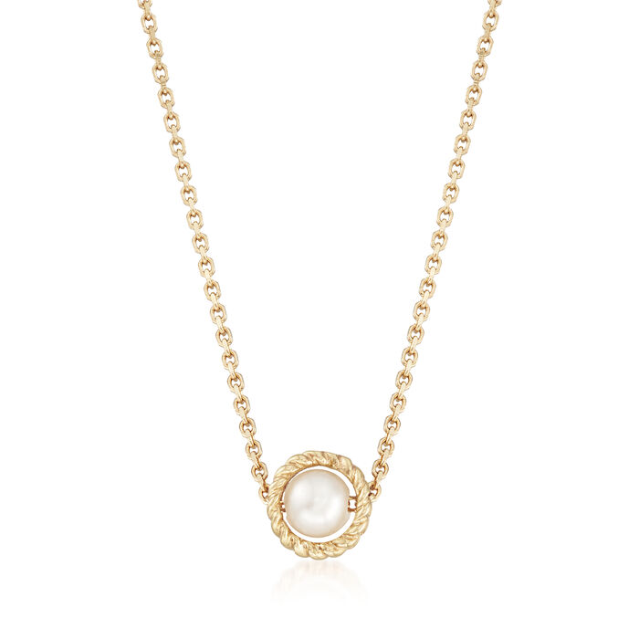"Phillip Gavriel ""Italian Cable"" 4.5mm Cultured Pearl Pendant Necklace in 14kt Yellow Gold. 16"", , default"