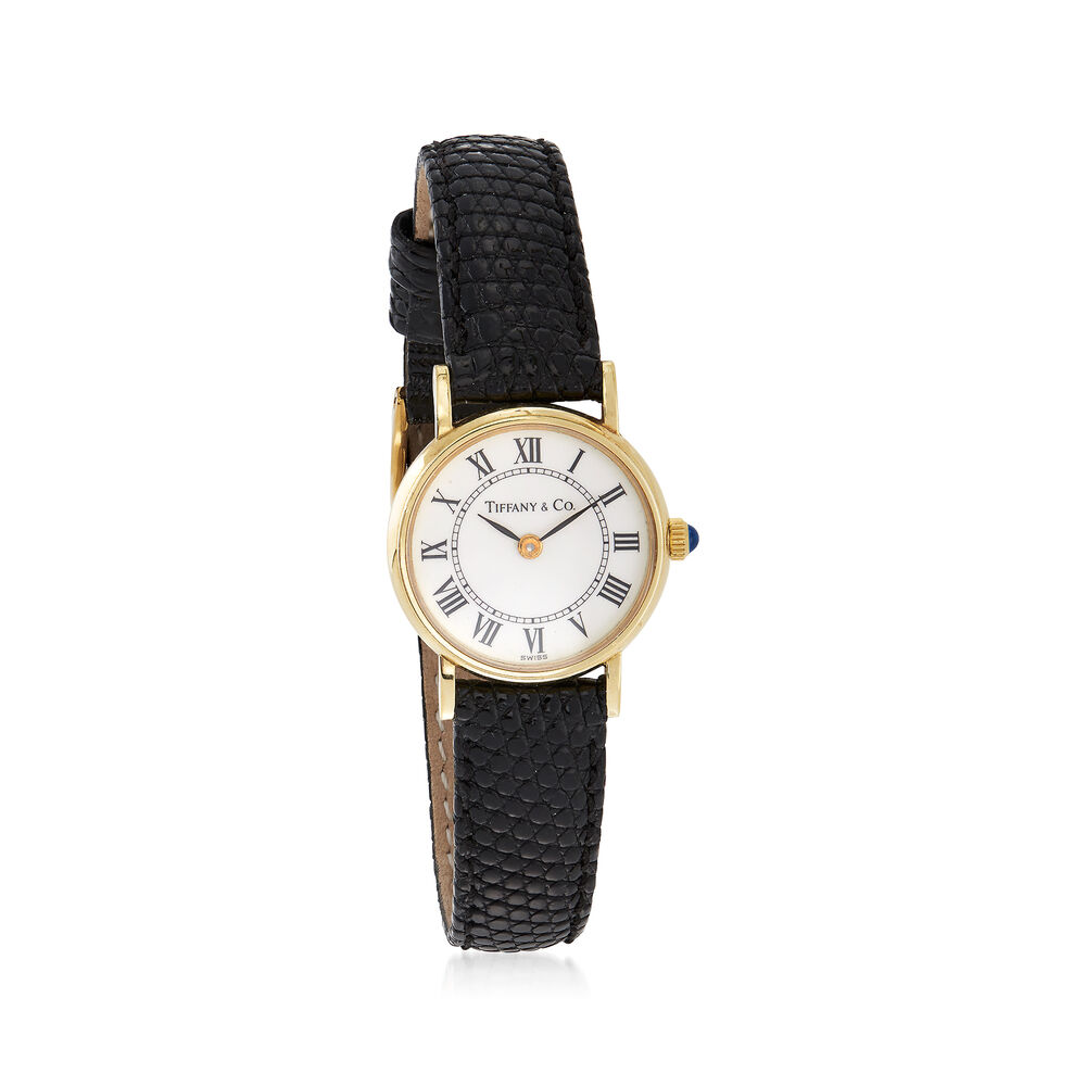 0d87f5ddc C. 1990 Vintage Tiffany Jewelry Women's 12mm 14kt Yellow Gold Watch with  Black Leather.