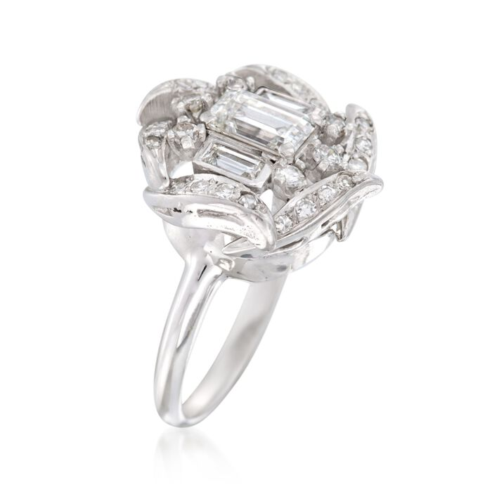 C. 1990 Vintage 1.15 ct. t.w. Multi-Cut Diamond Ring in 14kt White Gold