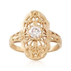 C. 1980 Vintage .30 Carat Diamond Filigree Ring in 14kt Yellow Gold, , default
