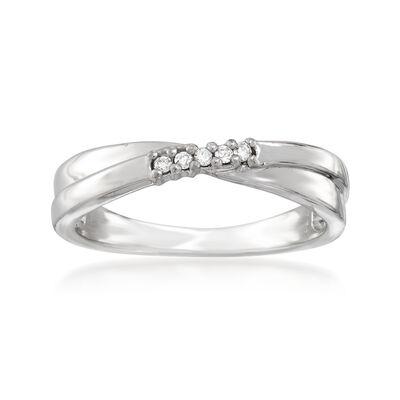 C. 1990 Vintage 18kt White Gold Crisscross Ring with Diamond Accents, , default
