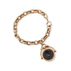 "C. 1900 Vintage Black Onyx ""David"" Intaglio Locket Bracelet in 14kt Yellow Gold, , default"