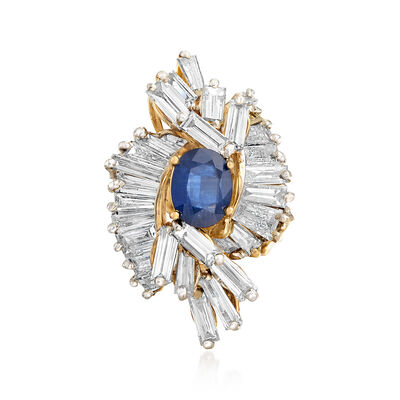 C. 1990 Vintage 2.25 Carat Sapphire and 6.50 ct. t.w. Diamond Ring in 14kt Yellow Gold