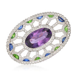 C. 1980 Vintage 5.85 Carat Amethyst and 2.00 ct. t.w. Multi-Stone Pin in Platinum, , default