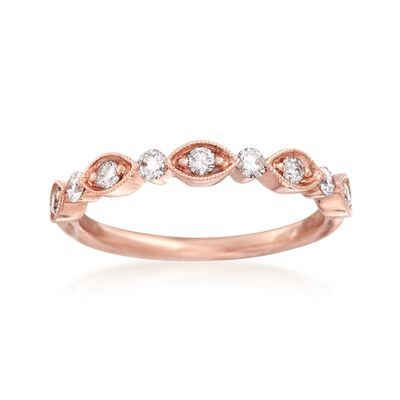 Henri Daussi .30 ct. t.w. Diamond Wedding Ring in 18kt Rose Gold
