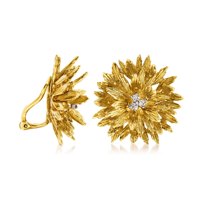"""C. 1970 Vintage Tiffany Jewelry """"Clio"""" .30 ct. t.w. Diamond Flower Clip-On Earrings in 18kt Yellow Gold"""