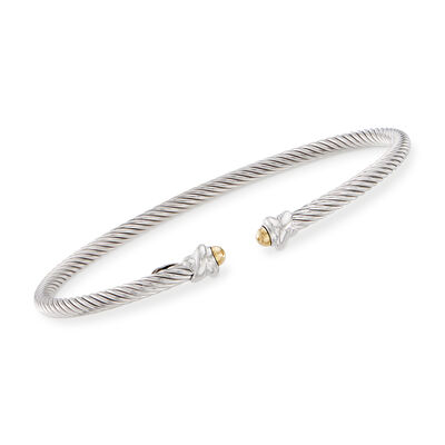 "Phillip Gavriel ""Italian Cable"" Sterling Silver Cuff Bracelet with 18kt Yellow Gold, , default"