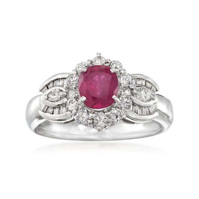 C. 2000 Vintage 1.00 Carat Ruby and .65 ct. t.w. Diamond Ring in Platinum