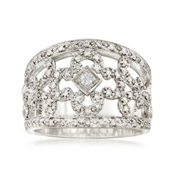 C. 2000 Vintage Phillip Charriol .44 ct. t.w. Diamond Floral Ring in 18kt White Gold, , default