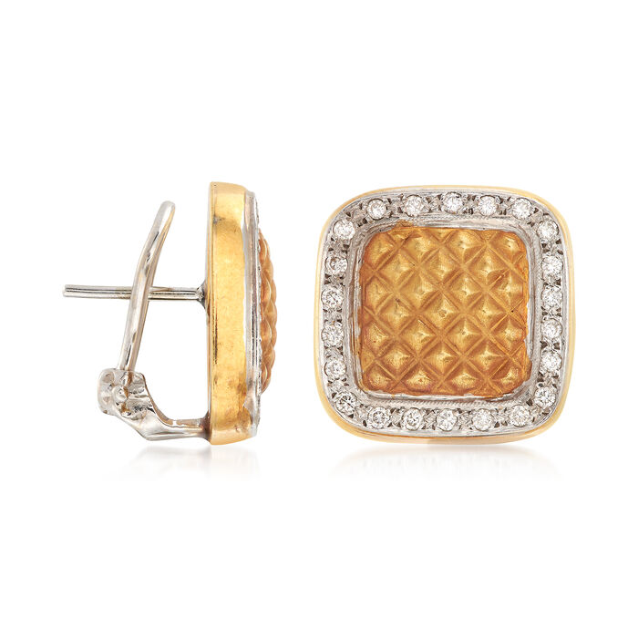 C. 1990 Vintage .60 ct. t.w. Diamond Square Earrings in 18kt Two-Tone Gold
