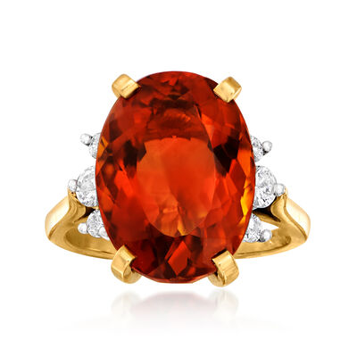C. 1980 Vintage 6.90 Carat Citrine and .35 ct. t.w. Diamond Ring in 18kt Yellow Gold, , default