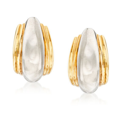 C. 1980 Vintage Tiffany Jewelry Sterling Silver and 18kt Yellow Gold Clip-On Hoop Earrings