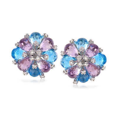 C. 1990 Vintage 9.20 ct. t.w. Amethyst and 8.00 ct. t.w. Blue Topaz Flower Earrings with .35 ct. t.w. Diamond in 18kt White Gold