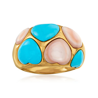 C. 1990 Vintage Mother-Of-Pearl and Turquoise Heart Ring in 14kt Yellow Gold