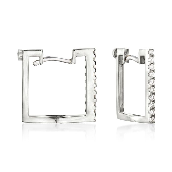 Roberto Coin .19 Carat Total Weight Diamond Square Hoops in 18-Karat White Gold, , default
