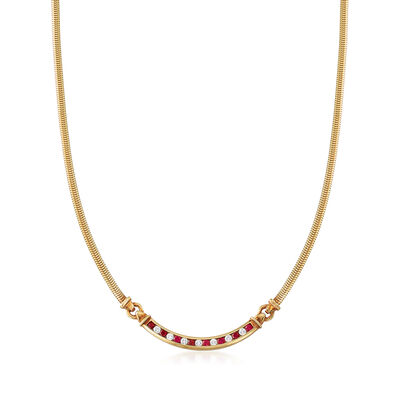 C. 1980 Vintage Tiffany Jewelry .80 ct. t.w. Ruby and .55 ct. t.w. Diamond Necklace in 18kt Yellow Gold, , default