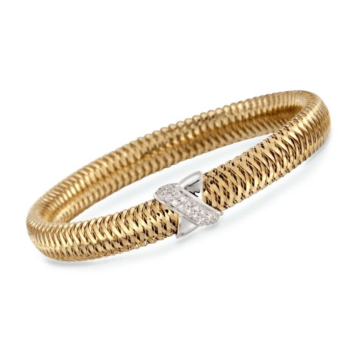 "Roberto Coin Primavera .18 Carat Total Weight Diamond Bracelet in 18-Karat Two-Tone Gold. 7"", , default"