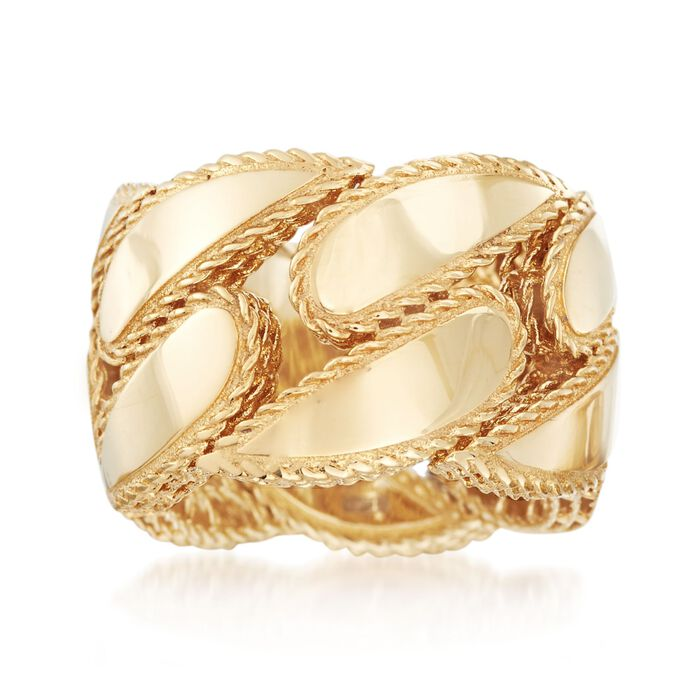Roberto Coin Gourmette 18-Karat Yellow Gold Band. Size 6.5