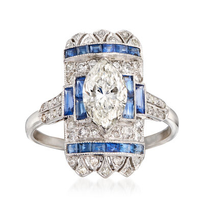 C. 2000 Vintage 1.52 ct. t.w. Diamond and .80 ct. t.w. Sapphire Ring in 18kt White Gold, , default